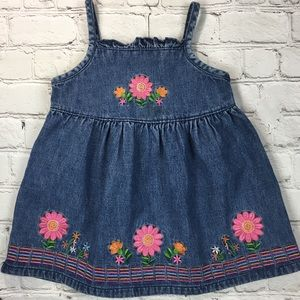 Denim Infant Summer Dress w/embroidery Sz 18M